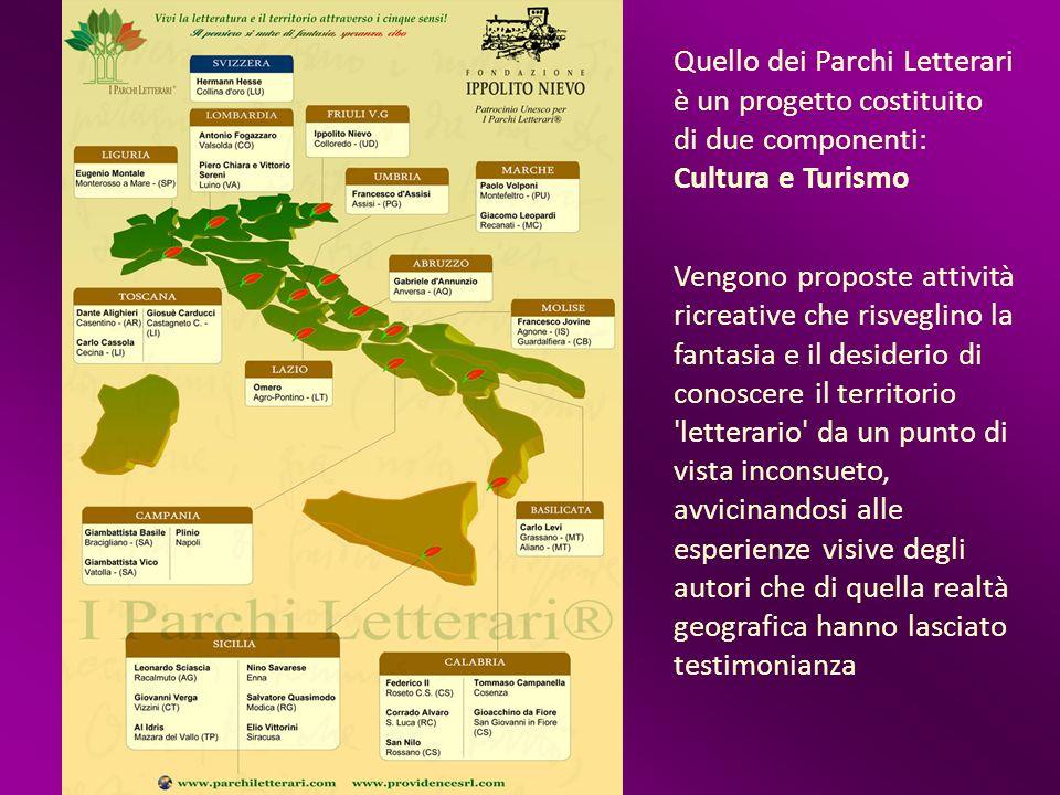 Quello dei Parchi Letterari è un progetto costituito di due componenti: Cultura e Turismo Vengono proposte attività ricreative che risveglino la fanta