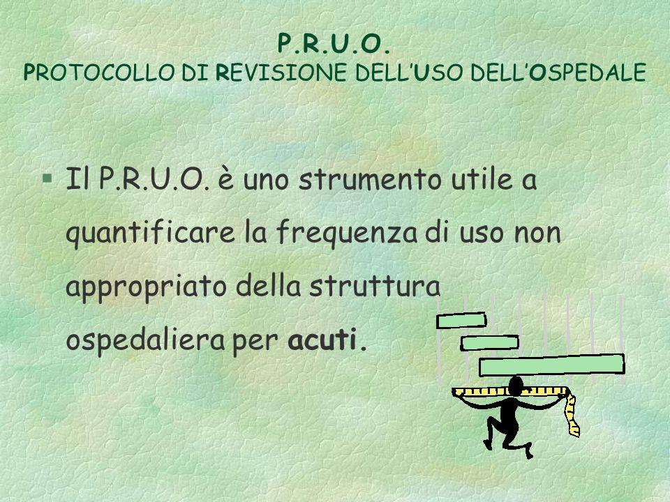 P.R.U.O. PROTOCOLLO DI REVISIONE DELLUSO DELLOSPEDALE §Il P.R.U.O. è uno strumento utile a quantificare la frequenza di uso non appropriato della stru