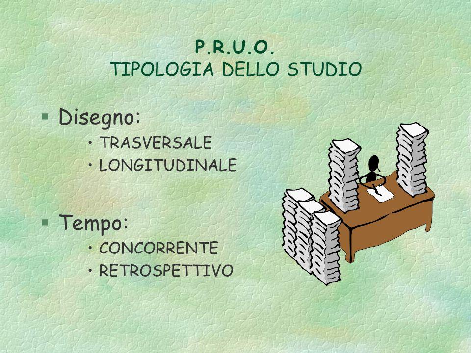 P.R.U.O. TIPOLOGIA DELLO STUDIO §Disegno: TRASVERSALE LONGITUDINALE §Tempo: CONCORRENTE RETROSPETTIVO