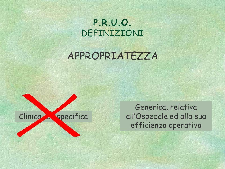 P.R.U.O. DEFINIZIONI APPROPRIATEZZA Clinica e specifica Generica, relativa allOspedale ed alla sua efficienza operativa