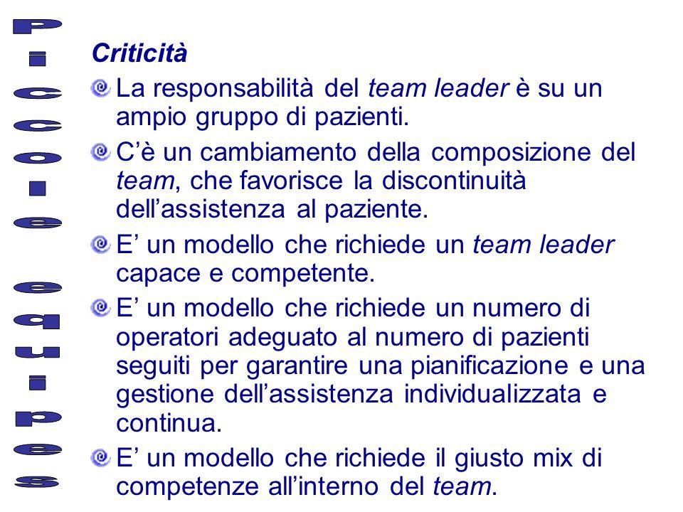 Criticità La responsabilità del team leader è su un ampio gruppo di pazienti. Cè un cambiamento della composizione del team, che favorisce la disconti