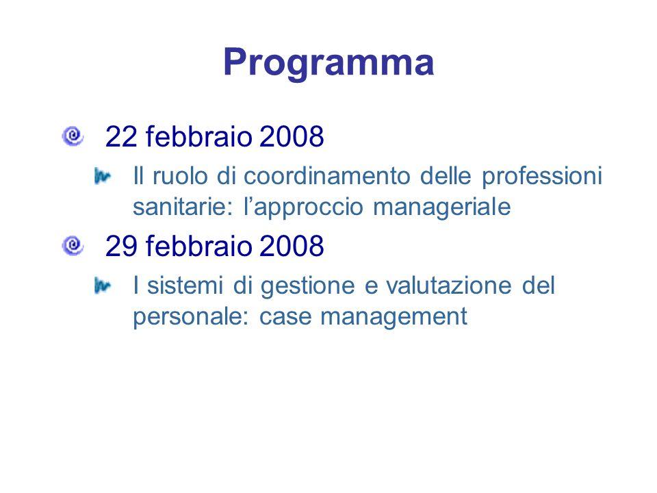 Programma 22 febbraio 2008 Il ruolo di coordinamento delle professioni sanitarie: lapproccio manageriale 29 febbraio 2008 I sistemi di gestione e valu