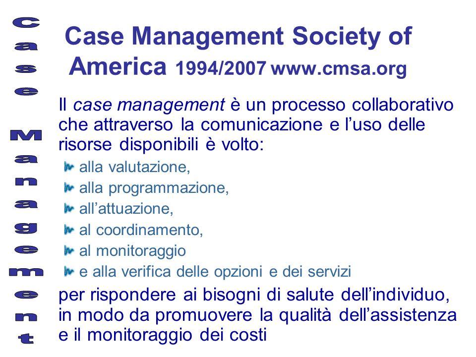 Case Management Society of America 1994/2007 www.cmsa.org Il case management è un processo collaborativo che attraverso la comunicazione e luso delle