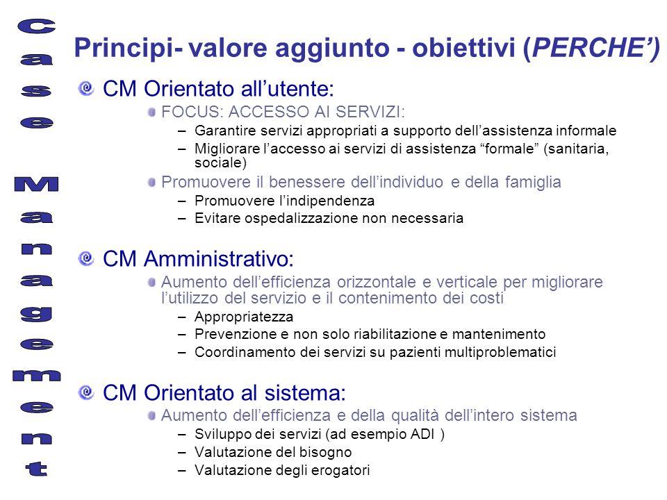 Principi- valore aggiunto - obiettivi (PERCHE) CM Orientato allutente: FOCUS: ACCESSO AI SERVIZI: –Garantire servizi appropriati a supporto dellassist