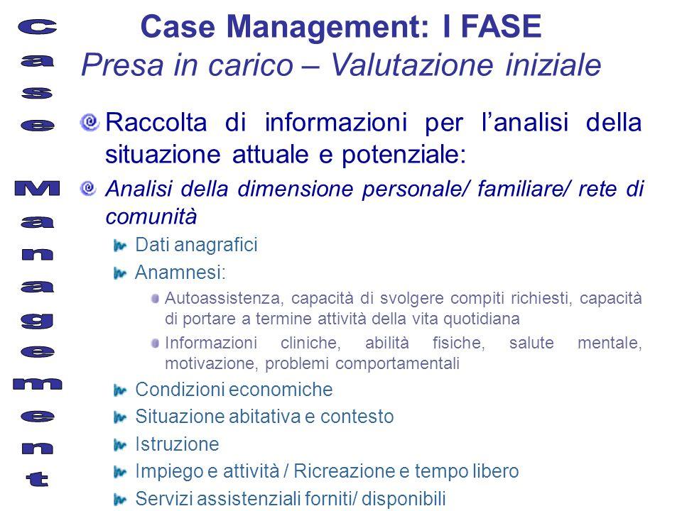 Raccolta di informazioni per lanalisi della situazione attuale e potenziale: Analisi della dimensione personale/ familiare/ rete di comunità Dati anag