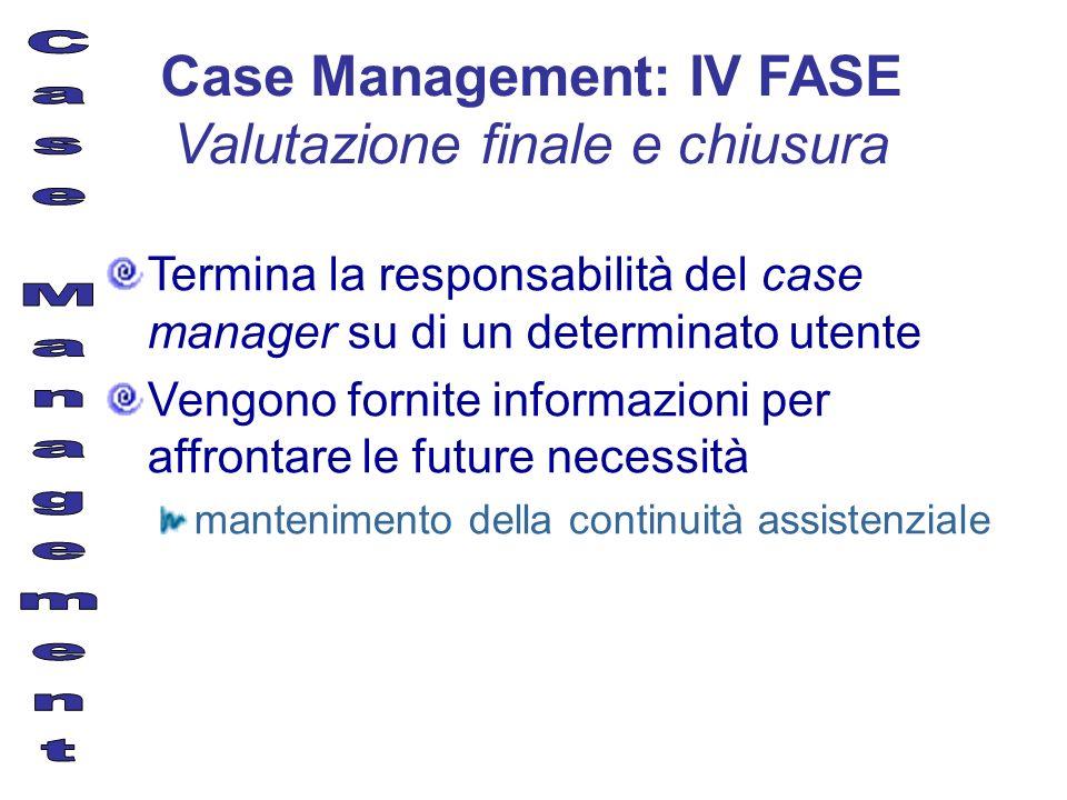 Termina la responsabilità del case manager su di un determinato utente Vengono fornite informazioni per affrontare le future necessità mantenimento de