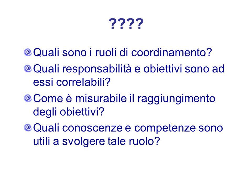 ???? Quali sono i ruoli di coordinamento? Quali responsabilità e obiettivi sono ad essi correlabili? Come è misurabile il raggiungimento degli obietti