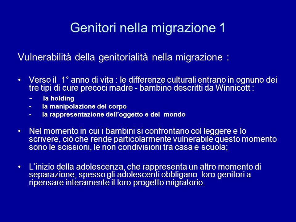 Genitori nella migrazione 1 Vulnerabilità della genitorialità nella migrazione : Verso il 1° anno di vita : le differenze culturali entrano in ognuno
