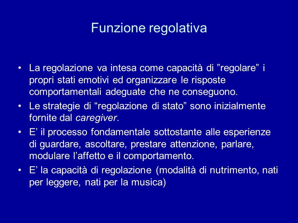 Funzione regolativa La regolazione va intesa come capacità di regolare i propri stati emotivi ed organizzare le risposte comportamentali adeguate che