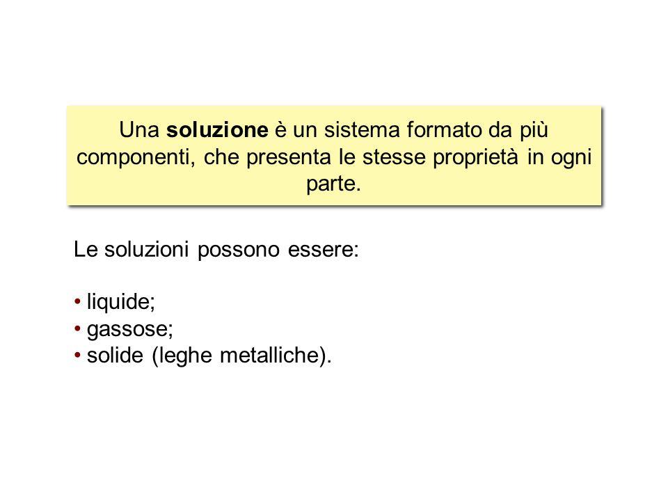 5 liquide; gassose; solide (leghe metalliche). Le soluzioni possono essere: Una soluzione è un sistema formato da più componenti, che presenta le stes