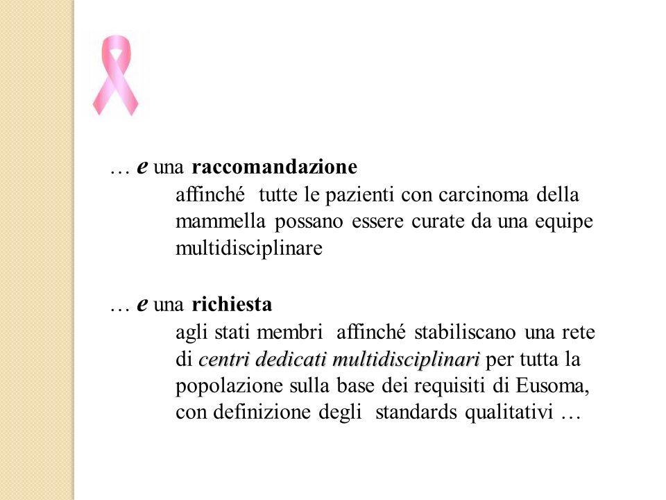 … e una raccomandazione affinché tutte le pazienti con carcinoma della mammella possano essere curate da una equipe multidisciplinare … e una richiest