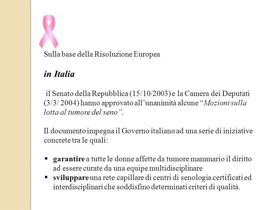 Sulla base della Risoluzione Europea in Italia il Senato della Repubblica (15/10/2003) e la Camera dei Deputati (3/3/ 2004) hanno approvato allunanimi