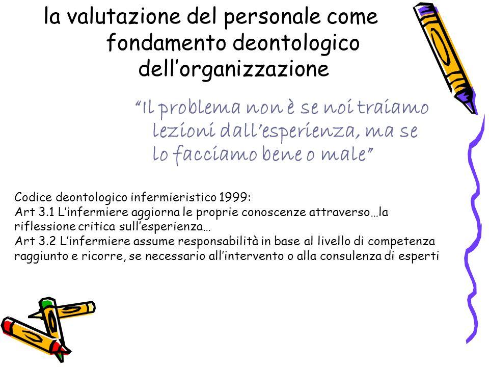 la valutazione del personale come fondamento deontologico dellorganizzazione Il problema non è se noi traiamo lezioni dallesperienza, ma se lo facciam