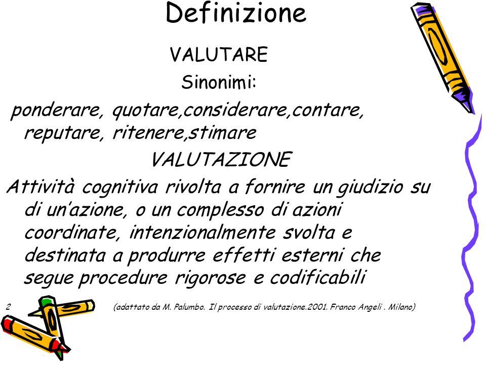 Definizione VALUTARE Sinonimi: ponderare, quotare,considerare,contare, reputare, ritenere,stimare VALUTAZIONE Attività cognitiva rivolta a fornire un
