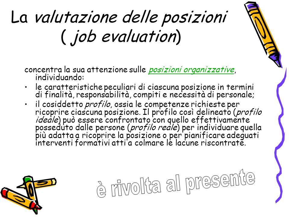 La valutazione delle posizioni ( job evaluation) concentra la sua attenzione sulle posizioni organizzative, individuando:posizioni organizzative le ca