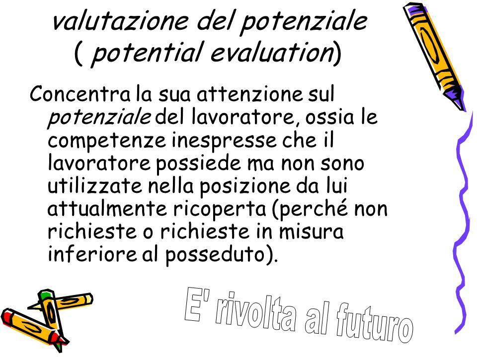 valutazione del potenziale ( potential evaluation) Concentra la sua attenzione sul potenziale del lavoratore, ossia le competenze inespresse che il la