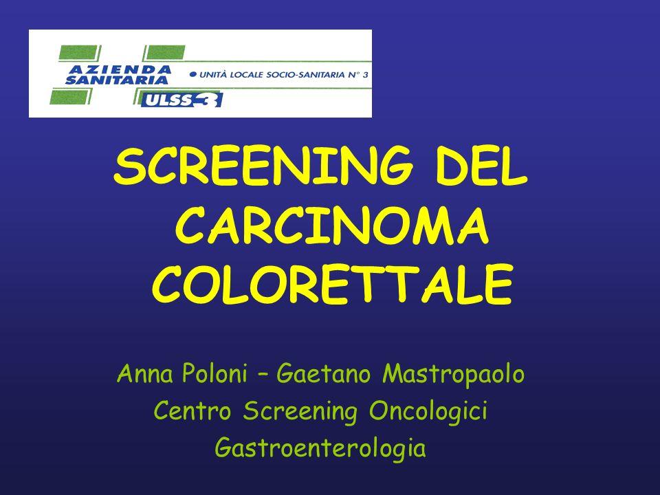 SCREENING DEL CARCINOMA COLORETTALE Anna Poloni – Gaetano Mastropaolo Centro Screening Oncologici Gastroenterologia