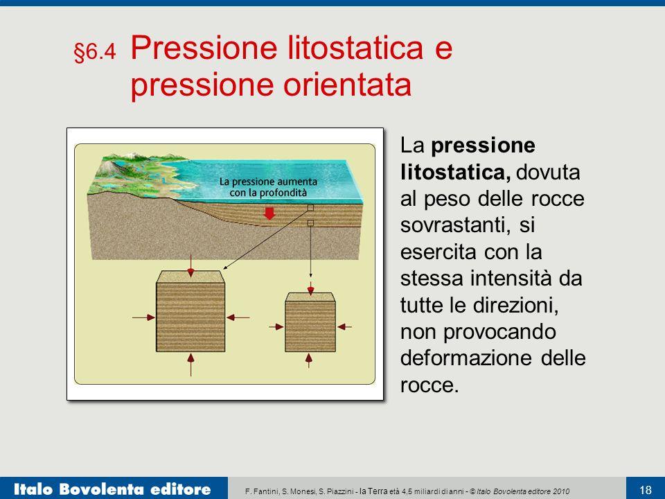 F. Fantini, S. Monesi, S. Piazzini - la Terra età 4,5 miliardi di anni - © Italo Bovolenta editore 2010 18 La pressione litostatica, dovuta al peso de