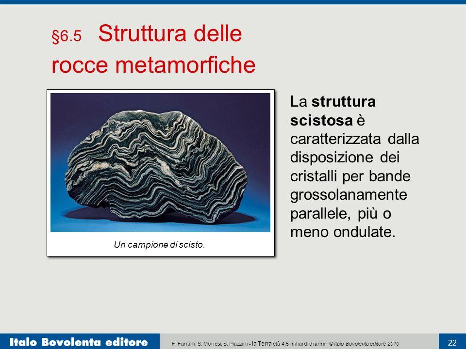 F. Fantini, S. Monesi, S. Piazzini - la Terra età 4,5 miliardi di anni - © Italo Bovolenta editore 2010 22 La struttura scistosa è caratterizzata dall