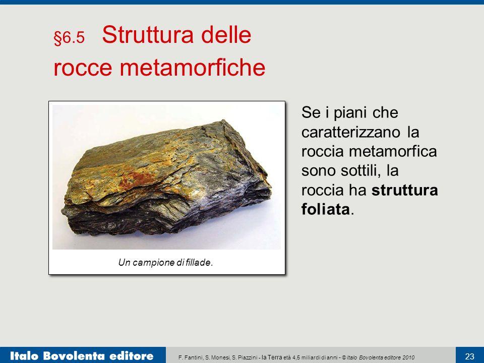 F. Fantini, S. Monesi, S. Piazzini - la Terra età 4,5 miliardi di anni - © Italo Bovolenta editore 2010 23 Se i piani che caratterizzano la roccia met
