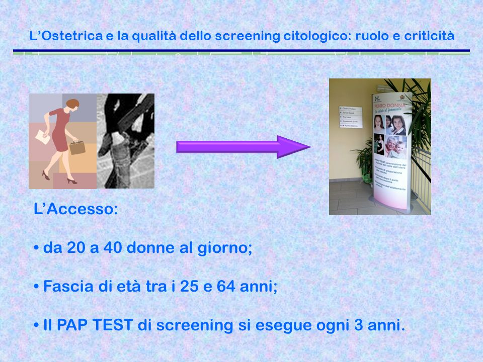 LOstetrica e la qualità dello screening citologico: ruolo e criticità LAccesso: da 20 a 40 donne al giorno; Fascia di età tra i 25 e 64 anni; Il PAP T