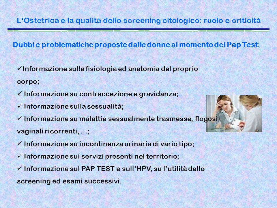 LOstetrica e la qualità dello screening citologico: ruolo e criticità Dubbi e problematiche proposte dalle donne al momento del Pap Test: Informazione