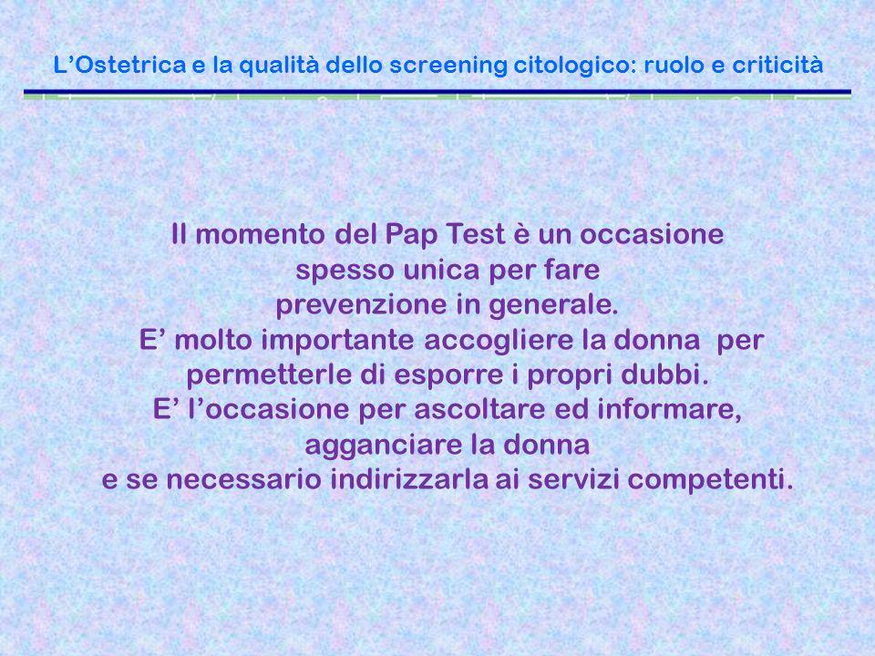 LOstetrica e la qualità dello screening citologico: ruolo e criticità Il momento del Pap Test è un occasione spesso unica per fare prevenzione in gene