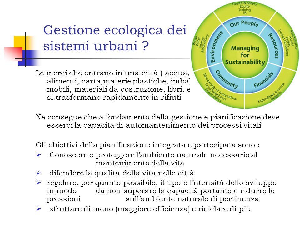 Gestione ecologica dei sistemi urbani .