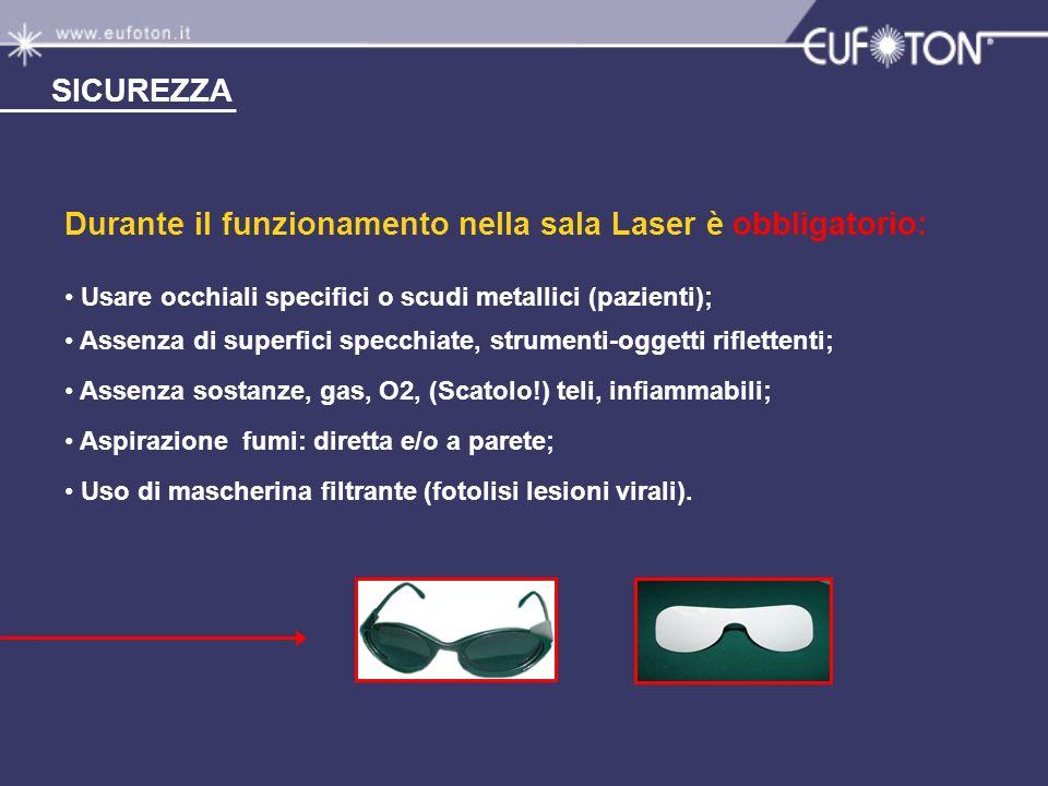 Durante il funzionamento nella sala Laser è obbligatorio: Usare occhiali specifici o scudi metallici (pazienti); Assenza di superfici specchiate, stru