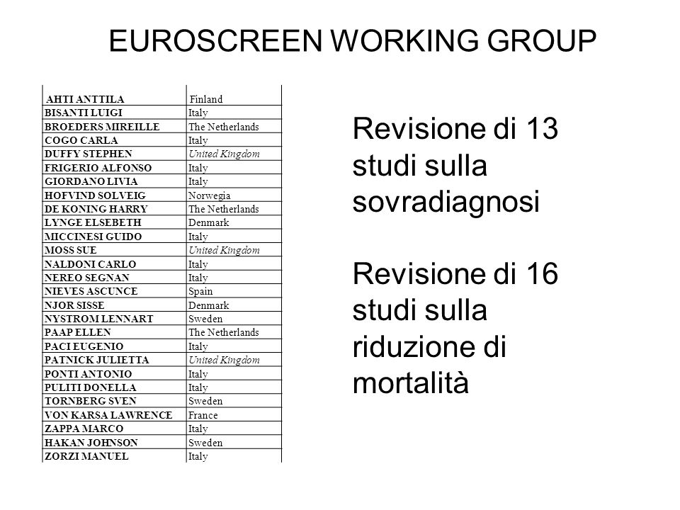 EUROSCREEN WORKING GROUP AHTI ANTTILAFinland BISANTI LUIGIItaly BROEDERS MIREILLEThe Netherlands COGO CARLAItaly DUFFY STEPHENUnited Kingdom FRIGERIO ALFONSOItaly GIORDANO LIVIAItaly HOFVIND SOLVEIGNorwegia DE KONING HARRYThe Netherlands LYNGE ELSEBETHDenmark MICCINESI GUIDOItaly MOSS SUEUnited Kingdom NALDONI CARLOItaly NEREO SEGNANItaly NIEVES ASCUNCESpain NJOR SISSEDenmark NYSTROM LENNARTSweden PAAP ELLENThe Netherlands PACI EUGENIOItaly PATNICK JULIETTAUnited Kingdom PONTI ANTONIOItaly PULITI DONELLAItaly TORNBERG SVENSweden VON KARSA LAWRENCEFrance ZAPPA MARCOItaly HAKAN JOHNSONSweden ZORZI MANUELItaly Revisione di 13 studi sulla sovradiagnosi Revisione di 16 studi sulla riduzione di mortalità