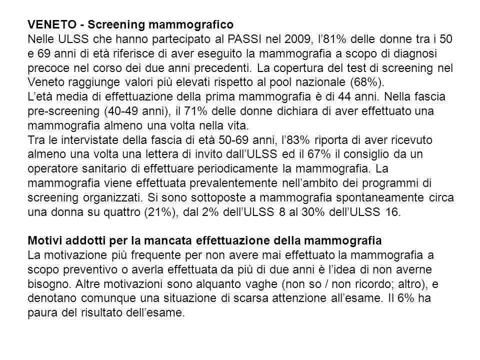 VENETO - Screening mammografico Nelle ULSS che hanno partecipato al PASSI nel 2009, l81% delle donne tra i 50 e 69 anni di età riferisce di aver eseguito la mammografia a scopo di diagnosi precoce nel corso dei due anni precedenti.