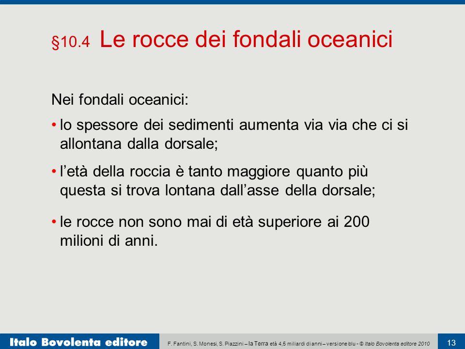F. Fantini, S. Monesi, S. Piazzini – la Terra età 4,5 miliardi di anni – versione blu - © Italo Bovolenta editore 2010 13 Nei fondali oceanici: lo spe