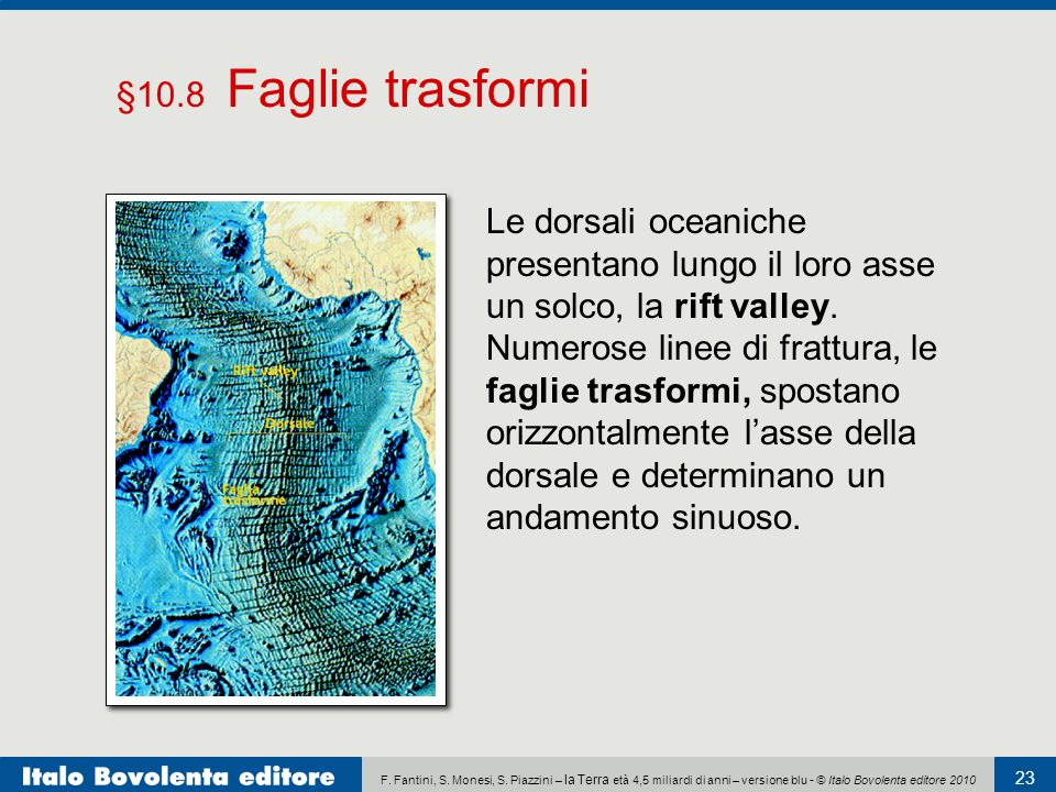 F. Fantini, S. Monesi, S. Piazzini – la Terra età 4,5 miliardi di anni – versione blu - © Italo Bovolenta editore 2010 23 Le dorsali oceaniche present