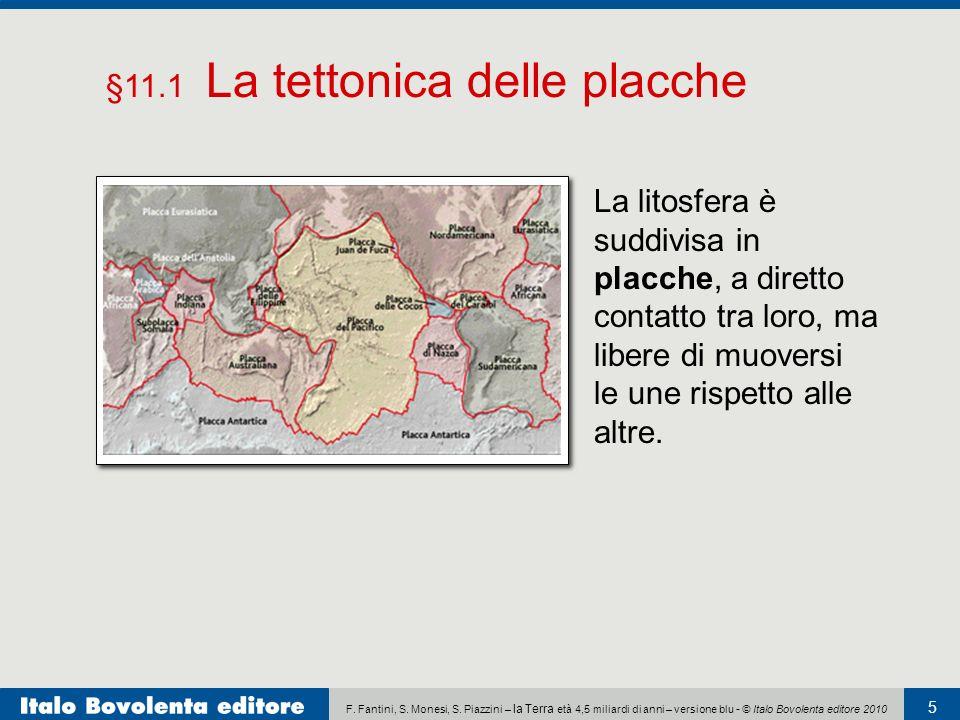 F. Fantini, S. Monesi, S. Piazzini – la Terra età 4,5 miliardi di anni – versione blu - © Italo Bovolenta editore 2010 5 La litosfera è suddivisa in p