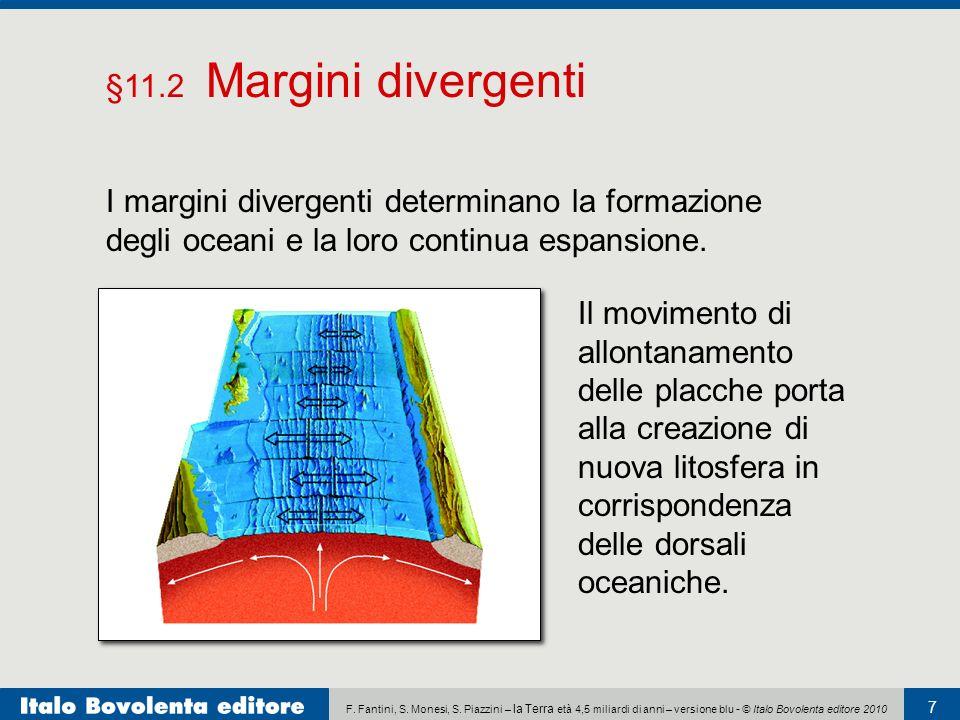 F. Fantini, S. Monesi, S. Piazzini – la Terra età 4,5 miliardi di anni – versione blu - © Italo Bovolenta editore 2010 7 I margini divergenti determin