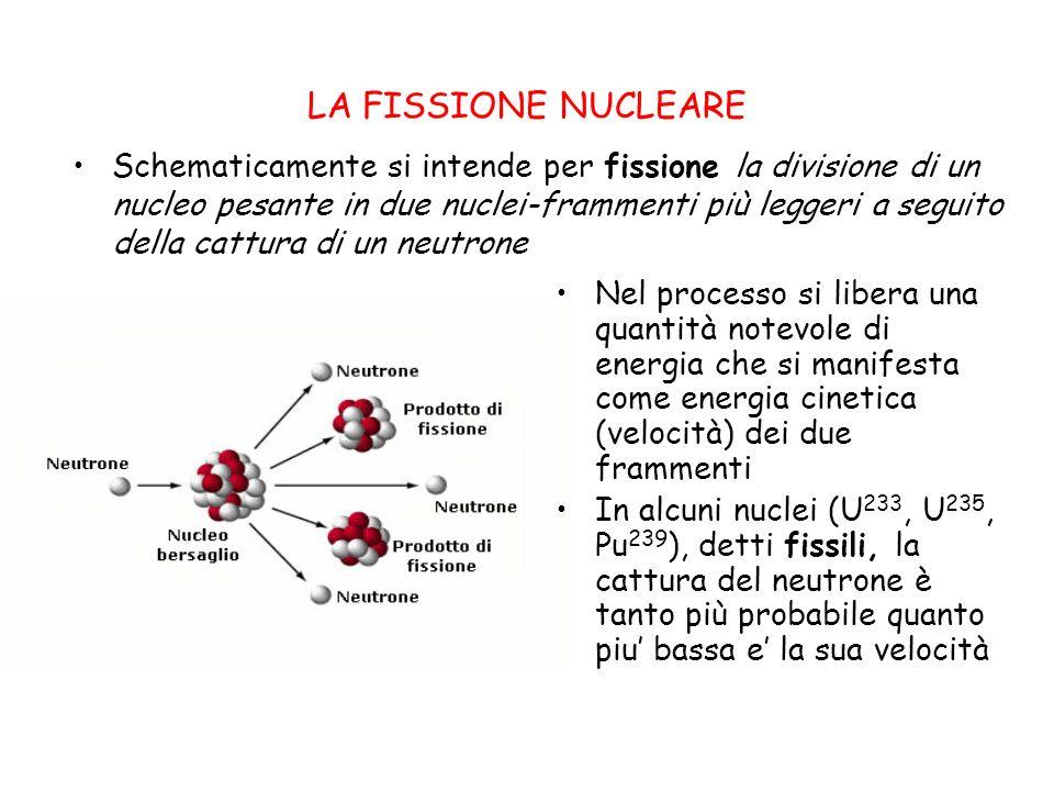 LA FISSIONE NUCLEARE Schematicamente si intende per fissione la divisione di un nucleo pesante in due nuclei-frammenti più leggeri a seguito della cattura di un neutrone Nel processo si libera una quantità notevole di energia che si manifesta come energia cinetica (velocità) dei due frammenti In alcuni nuclei (U 233, U 235, Pu 239 ), detti fissili, la cattura del neutrone è tanto più probabile quanto piu bassa e la sua velocità