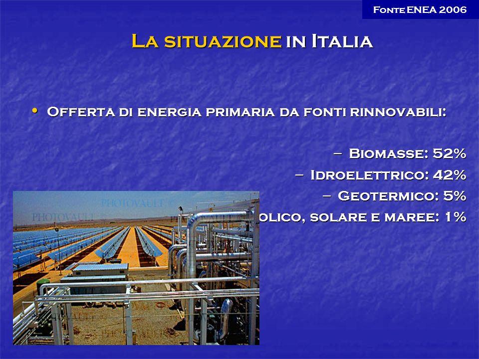 Offerta di energia primaria da fonti rinnovabili: Offerta di energia primaria da fonti rinnovabili: – Biomasse: 52% – Idroelettrico: 42% – Geotermico: