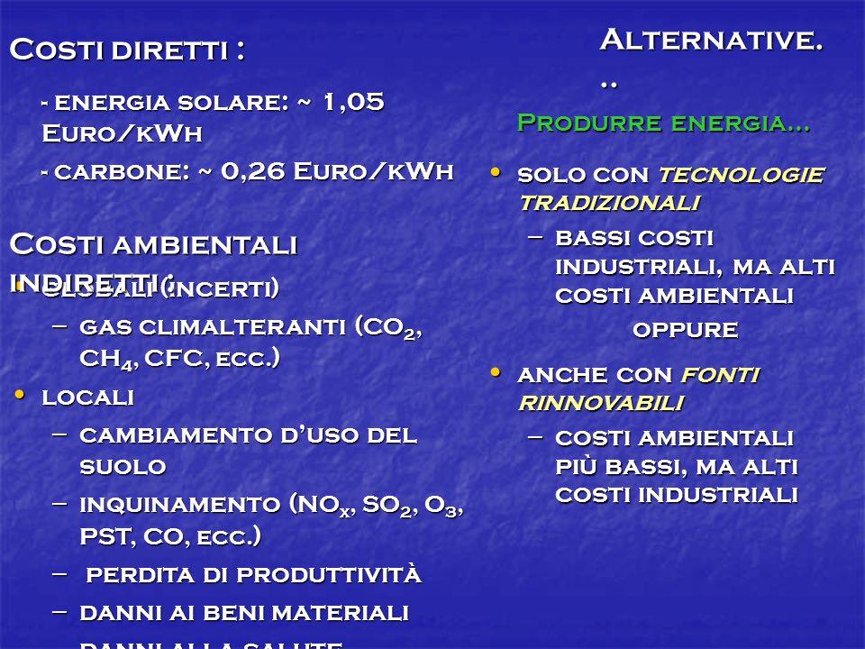Costi diretti : - energia solare: ~ 1,05 Euro/kWh - carbone: ~ 0,26 Euro/kWh globali (incerti) globali (incerti) – gas climalteranti ( CO 2, CH 4, CFC