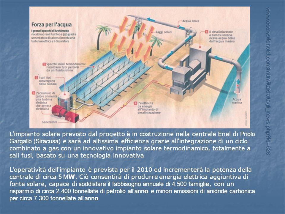 L'impianto solare previsto dal progetto è in costruzione nella centrale Enel di Priolo Gargallo (Siracusa) e sarà ad altissima efficienza grazie all'i