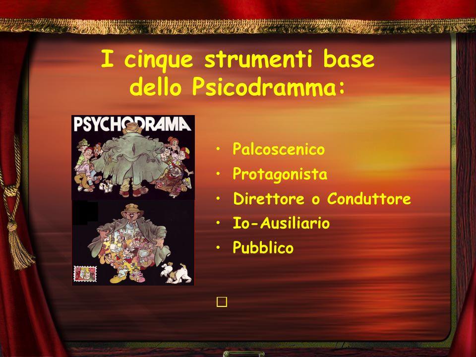 I cinque strumenti base dello Psicodramma: Palcoscenico Protagonista Direttore o Conduttore Io-Ausiliario Pubblico