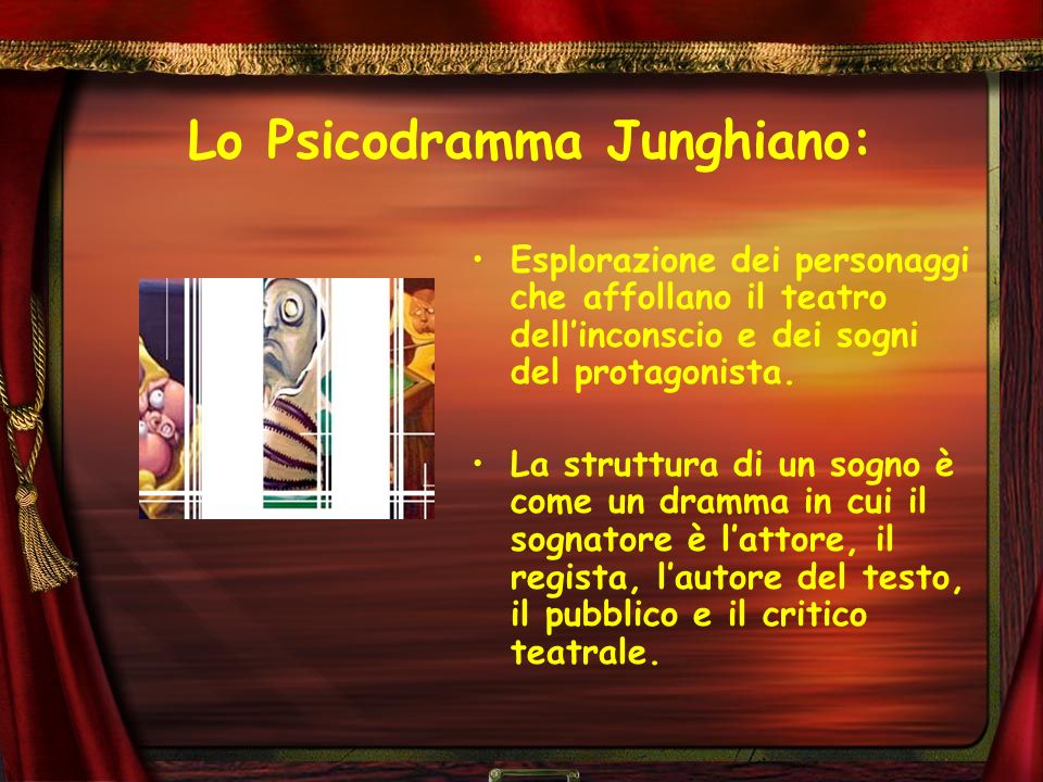 Lo Psicodramma Junghiano: Esplorazione dei personaggi che affollano il teatro dellinconscio e dei sogni del protagonista. La struttura di un sogno è c