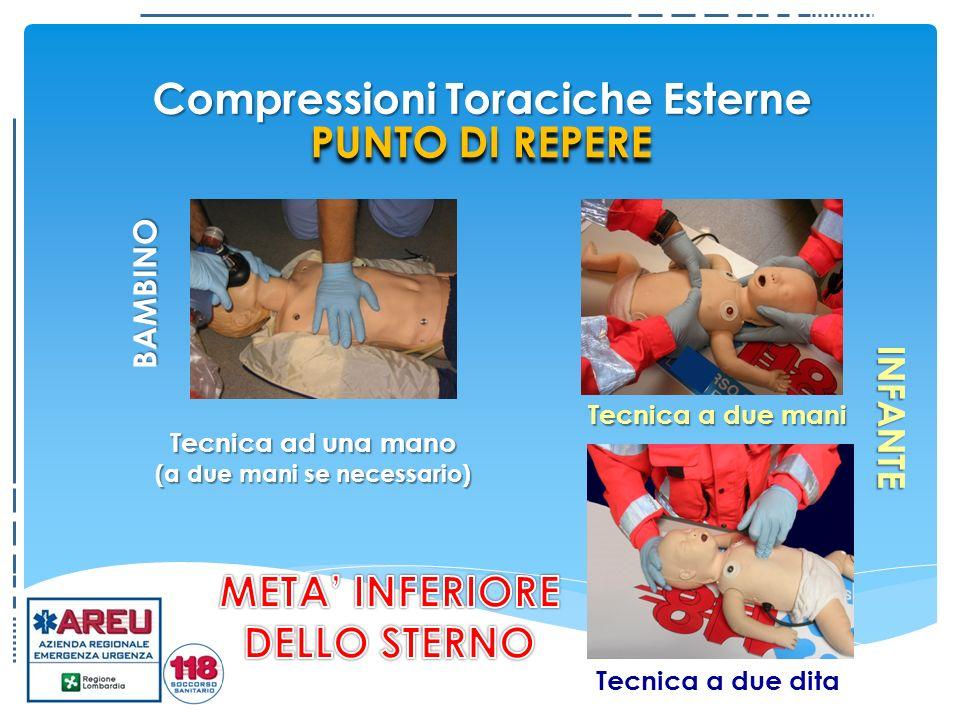 Tecnica a due mani Tecnica ad una mano (a due mani se necessario) INFANTE Tecnica a due dita BAMBINO PUNTO DI REPERE Compressioni Toraciche Esterne