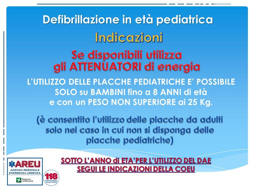 Defibrillazione in età pediatrica LUTILIZZO DELLE PLACCHE PEDIATRICHE E POSSIBILE SOLO su BAMBINI fino a 8 ANNI di età e con un PESO NON SUPERIORE ai