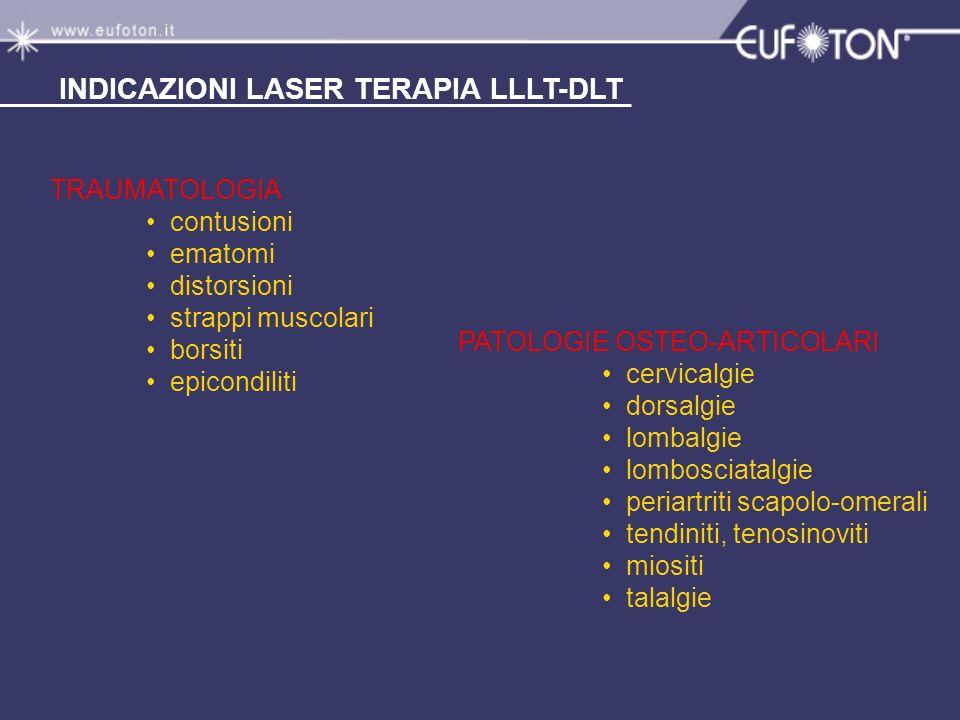 PATOLOGIE OSTEO-ARTICOLARI cervicalgie dorsalgie lombalgie lombosciatalgie periartriti scapolo-omerali tendiniti, tenosinoviti miositi talalgie INDICA