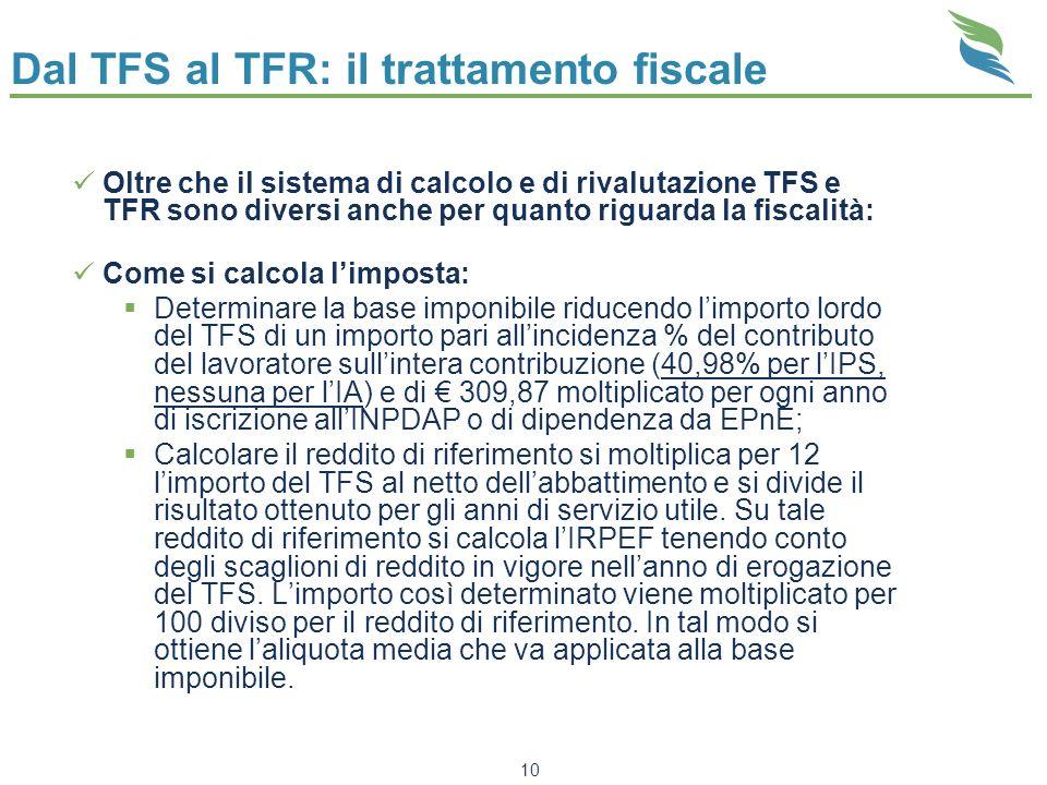 Dal TFS al TFR: il trattamento fiscale Oltre che il sistema di calcolo e di rivalutazione TFS e TFR sono diversi anche per quanto riguarda la fiscalit
