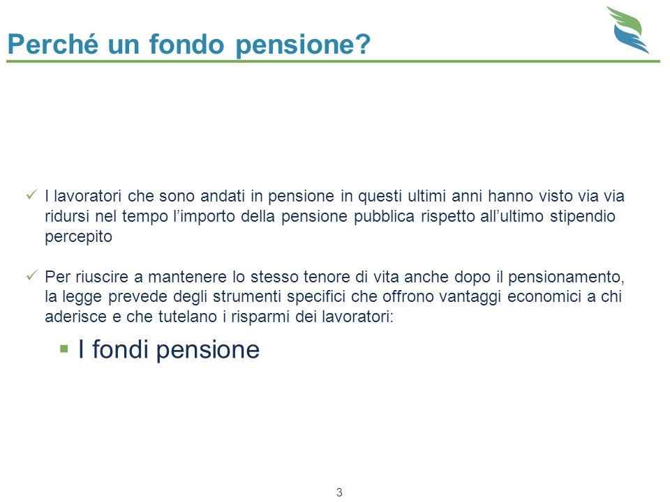 Perché un fondo pensione? I lavoratori che sono andati in pensione in questi ultimi anni hanno visto via via ridursi nel tempo limporto della pensione