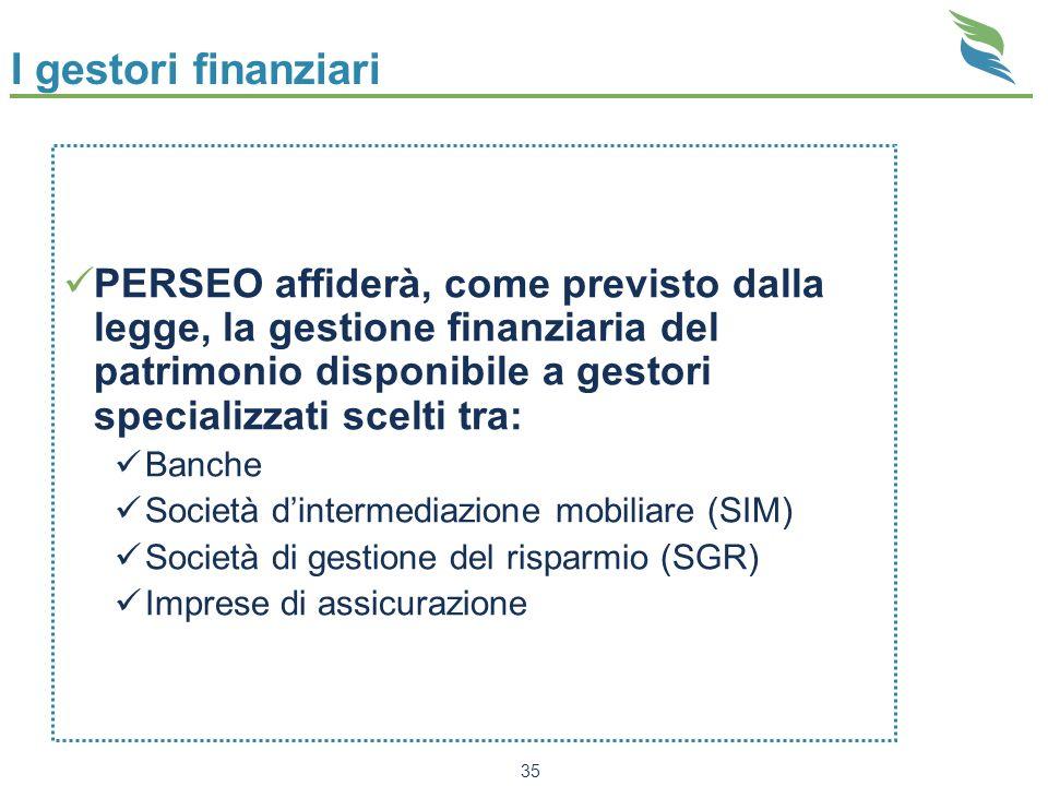 35 I gestori finanziari PERSEO affiderà, come previsto dalla legge, la gestione finanziaria del patrimonio disponibile a gestori specializzati scelti