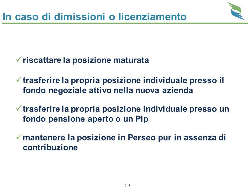 39 In caso di dimissioni o licenziamento riscattare la posizione maturata trasferire la propria posizione individuale presso il fondo negoziale attivo