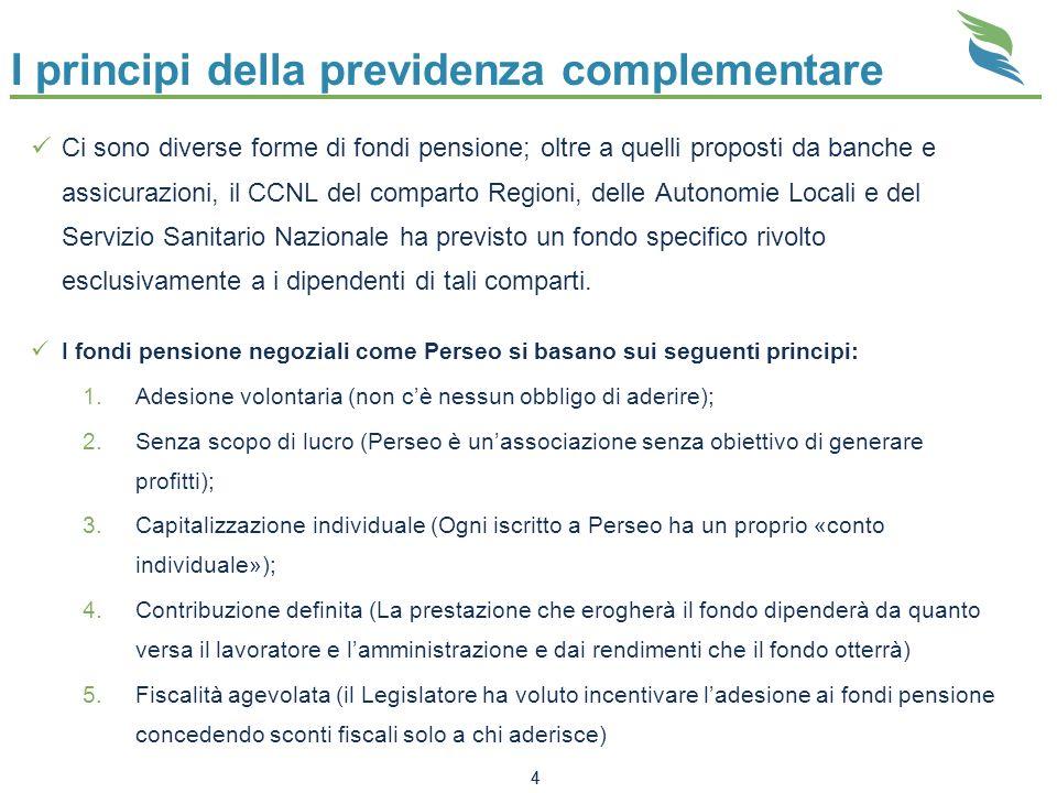 4 Ci sono diverse forme di fondi pensione; oltre a quelli proposti da banche e assicurazioni, il CCNL del comparto Regioni, delle Autonomie Locali e d