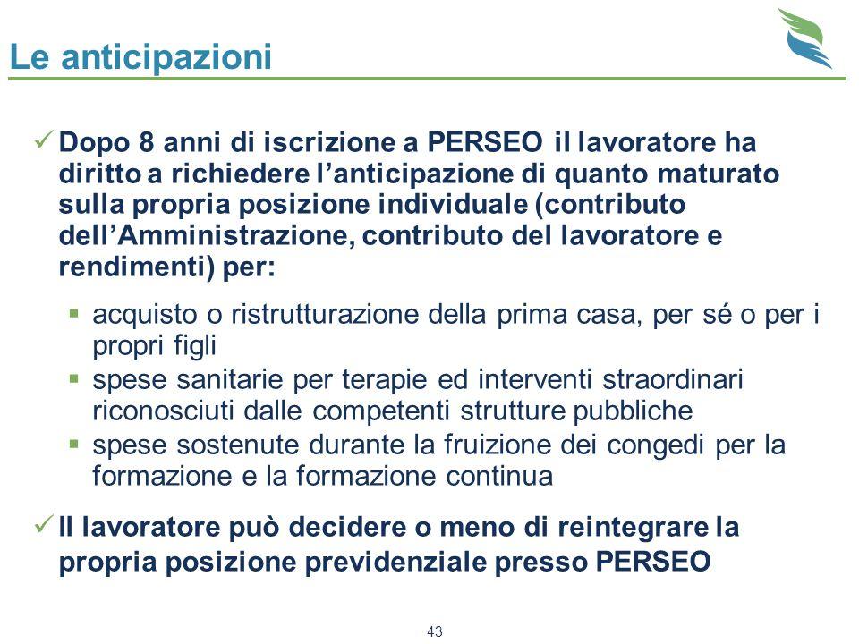 43 Le anticipazioni Dopo 8 anni di iscrizione a PERSEO il lavoratore ha diritto a richiedere lanticipazione di quanto maturato sulla propria posizione